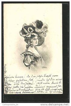 Artiste-CPA E. Bottaro, Junge Dame trÀgt einen schönen mit Federn gezierten Hut