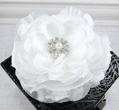 Bridal Hair Clip White Flower Hair Clip Wedding by FlowerCouture, $15.00