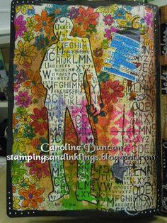 art journal page designed by Caroline Duncan ~ www.stampingsandinklings.blogspot.com Dylusions Dyan Reaveley