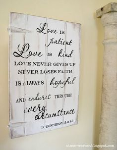 Love is Patient wood sign by Aimee Weaver Designs