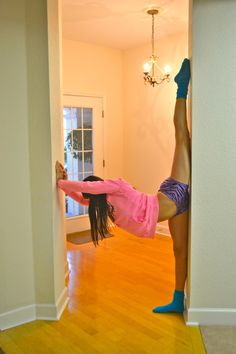 this wall trick is supposed to help you with splits. I see girls using this in cheerleading...I need to try this.