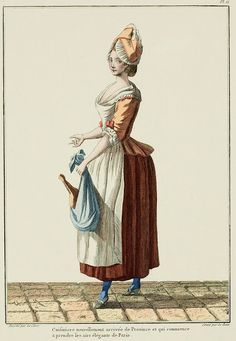 "A Most Beguiling Accomplishment: Galerie des Modes, 8e Cahier, 5e Figure (1778). Caption & long description translated by @Cassidy. ""Cook, newly arrived from the Provinces, who is beginning to take on the elegant airs of Paris... She is dressed in a fitted casaquin* with sleeves pulled up en pagode with a ribbon and trimmed with a gathered band. Her headdress is a Bastienne, or a round cap with lappets; a petticoat without trim and a linen apron are the remains of her simple state, but..."""