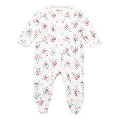 Cath Kidston Baby Floral Print Sleepsuit, Cream/Multi - johnlewis.com