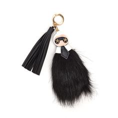 Mini Me Faux Fur Keychain BLACKMULTI (11 TND) ❤ liked on Polyvore featuring accessories, black, star key ring, key chain rings, mini key ring, mini key chain and leather tassel key ring