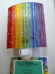 Fused Glass Night Light Rainbow by chneos on Etsy