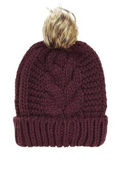 dd316f0b956 Cable Faux Fur Pom Beanie - New In Fashion - New In