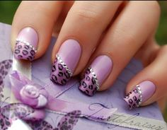 Purple Cheetah Manicure ♥