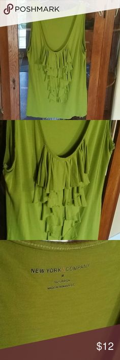♡♡ NYCo Green tank with ruffled front Super soft green ruffled front tank. New York and company New York & Company Tops