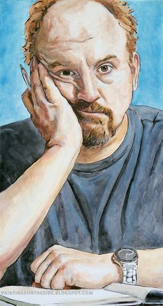 mixed-media painting of Louis CK