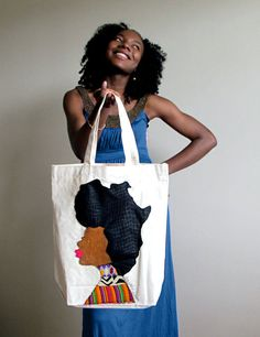 Quelle Rue's Afro Woman Tote Bag<-fabulous bag and how her hair is the continent of Africa