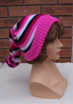 Handknitted Hat Striped Hat PomPom Hat Girls Hat by evefashion, $20.00