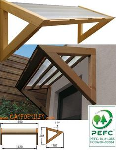 Auvent en bois à Petit Prix : Auvent bois de porte et fenêtre 1 pan MAR1507 リフォーム Diy, Porch Awning, Front Door Awning, Door Overhang, Window Awnings, Porch Roof, Metal Awning, Diy Porch, Beach Canopy