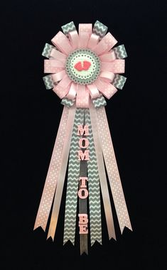 Baby Girl Feet Theme Baby Shower Corsage Pink Pin - Mom to Be Badge Clay Favor -Pink Grey Gray Chevron Ribbon -Grandma Capia It's a Girl Mum by lezliezdesigns. Explore more products on http://lezliezdesigns.etsy.com