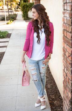 Bellami hair extensions, pink blazer, boyfriend jeans, white heels, basic tee, pink handbag, statement necklace
