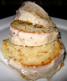 Almond pound cake with sweet almond glaze