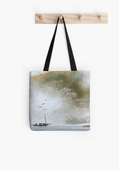 """""""Misty Boat"""" Tote Bags by aplcollections 