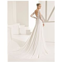 ROSA CLARA COUTURE Pascal Lace Crepe A-Line Gown (14.675 BRL) ❤ liked on Polyvore featuring dresses, gowns, white evening gowns, white gown, white dress, white lace dresses and a line gown