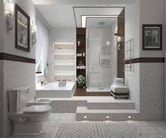Interesting bath/shower combo with beautiful built in wall shelf in between.