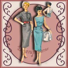Simplicity 2439 Vintage 1950s Misses Dress Sewing Pattern by DejaVuPatterns