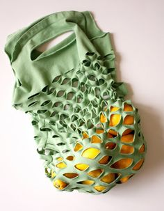 recycled craft ideas | Recycled T-shirt bag in Craft ideas for the clothing and fashion