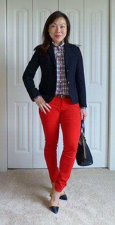 navy blazer + plaid + red cords
