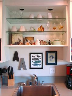 A sweet idea for display and lighting above the kitchen sink, since we don't have a window above it. Kitchen Pantry, Kitchen Sink, Whale Print, Kitchen Trends, Whales, Dream Homes, Apartment Therapy, Cool Kitchens, Floating Shelves