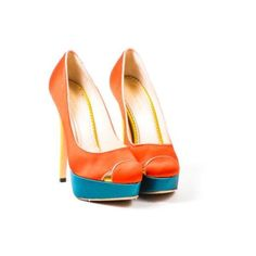 Pre-Owned Charlotte Olympia Red Blue Yellow Color Block Satin... ($250) ❤ liked on Polyvore featuring shoes, pumps, multi, blue satin pumps, multi-color pumps, red pumps, high heel platform pumps and platform pumps