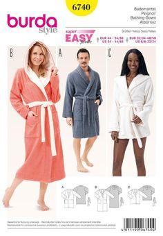 fca8219ead Burda Sewing Pattern Super Easy Bath Robes Size 32 - 50 6740 Jurkpatronen