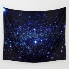 Dark Blue Stars Wall Tapestry