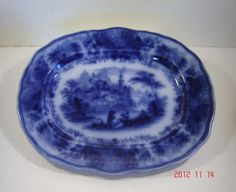 Antique Burgess Leigh Flow Blue Non Pareil Platter