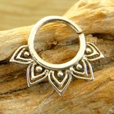 Silver Septum For Pierced Nose - Nose jewelry - Septum Jewelry - Indian Nose Ring - Ethnic Septum - Septum Piercing (Code: S24)