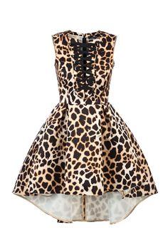 0d7fbfb605c6 Mini abito in duchesse di raso stampa giraffa Scollo rotondo Scollatura con  anelle e laccio elastico