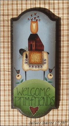 Handpainted Folkart Welcome Plaque by saltboxseasons on Etsy Pintura Country, Arte Country, Country Crafts, Primitive Painting, Tole Painting, Painting On Wood, Painting Tips, Watercolor Painting, Primitive Sheep