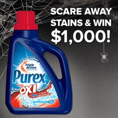 """*THIS SWEEPSTAKES HAS ENDED* WIN $1,000 in the Purex plus Oxi """"Scare Away Stains"""" #sweepstakes."""