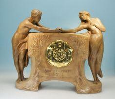 Goldscheider, Wien, Jugendstil Uhr Amicitia, Allegorie der Freundschaft