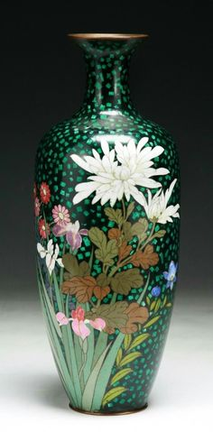 A Japanese Antique Silver Ando Cloisonne Vase: Of Late 19Th Century; Size: H: 12-1/4.""
