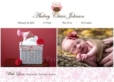 Printable Pink Owl Baby Girl Announcement by ThePhotoMommy on Etsy, $10.00