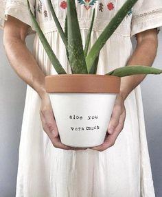 6 ALOE you VERA MUCH: hand painted terracotta pot Cute aloe planter!