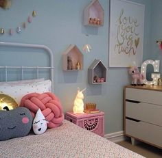 Seriously cute kids room with light blue walls and pale pink and white accents. - Seriously cute kids room with light blue walls and pale pink and white accents.