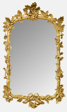 Gilded Mirror with Oak Leaf Border -   LoveAntiques.com