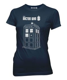 Navy Linear Tardis Fitted Tee - Women