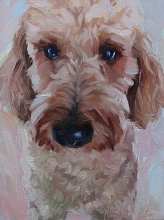 """Daily Paintworks - """"Buddy"""" - Original Fine Art for Sale - © Oleksii Movchun Goldendoodle Art, Goldendoodles, Labradoodles, Animal Paintings, Animal Drawings, Dog Artwork, Watercolor Canvas, Painting Canvas, Dog Portraits"""