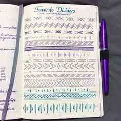 Wendy Meier from Bullet Journal Junkies - Favourite Borders / Dividers - love these!!