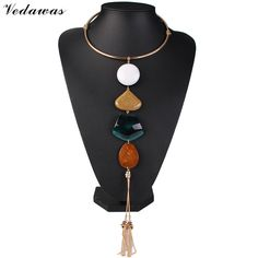 Aliexpress.com : Buy Vedawas Acrylic Gem Pendant Necklace Long Tassel Style Collar Choker Metal Statement Necklace Fashion Jewelry Women Collier 1440 from Reliable jewelry handcuff necklace suppliers on X-Women Jewelry Store