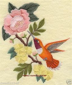 ROUFOUS HUMMINGBIRD & FLOWERS SCENE - 2 EMBROIDERED HAND TOWELS by Susan