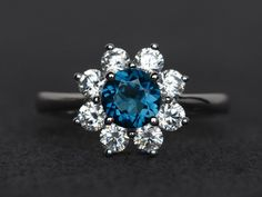 London blue topaz ring sunflower rings round cut blue topaz engagement ring silver