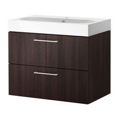 GODMORGON/BRÅVIKEN Wash-stand with 2 drawers - black-brown  - IKEA