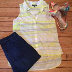 Bebe Sleeveless Button Down Striped neon high low sleeveless button down. Like new condition, only worn once! bebe Tops Button Down Shirts