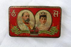 Antique tin Coronation 1902 Cadbury Chocolate King by Tinternet