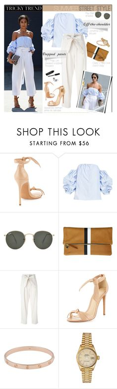 """Summer Street Style Trend"" by akchesunel ❤ liked on Polyvore featuring Alexandre Birman, Ray-Ban, Clare V., 3.1 Phillip Lim, Cartier, Rolex and Bobbi Brown Cosmetics"